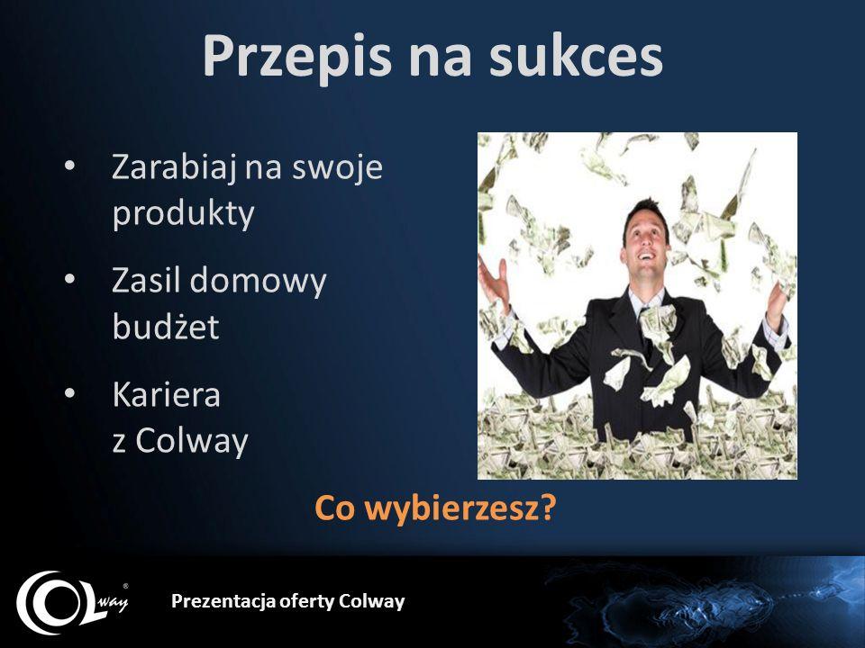 Prezentacja oferty Colway Przepis na sukces Zarabiaj na swoje produkty Zasil domowy budżet Kariera z Colway Co wybierzesz?