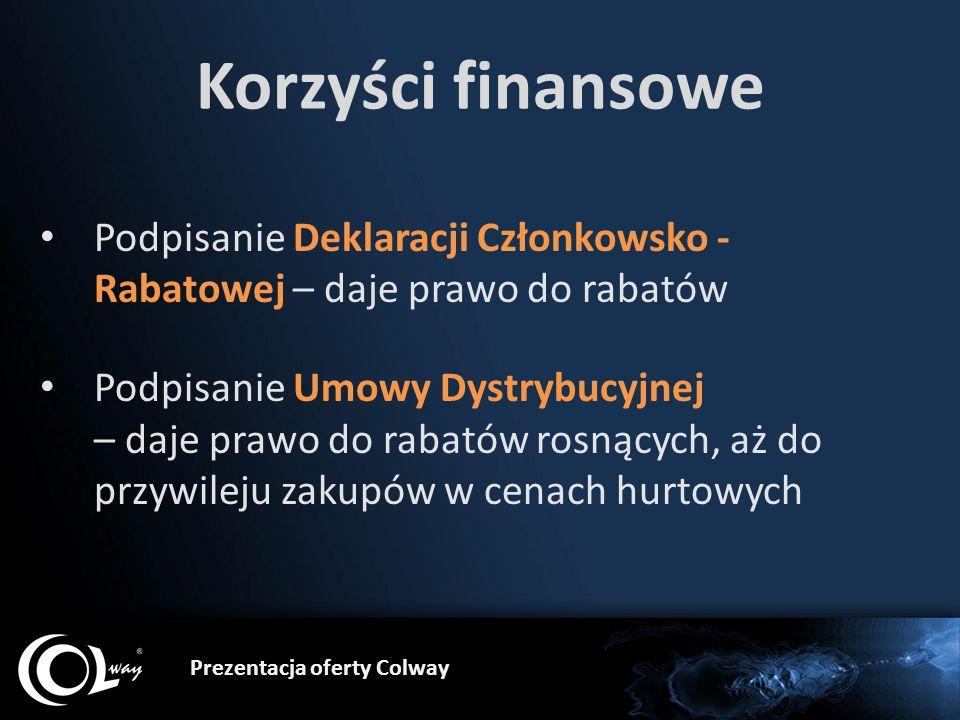 Prezentacja oferty Colway Korzyści finansowe Podpisanie Deklaracji Członkowsko - Rabatowej – daje prawo do rabatów Podpisanie Umowy Dystrybucyjnej – d