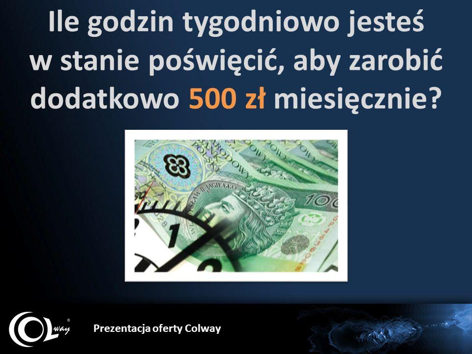 Prezentacja oferty Colway Ile godzin tygodniowo jesteś w stanie poświęcić, aby zarobić dodatkowo 500 zł miesięcznie?