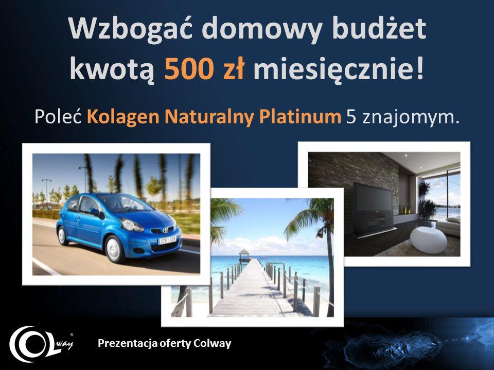 Prezentacja oferty Colway Wzbogać domowy budżet kwotą 500 zł miesięcznie! Poleć Kolagen Naturalny Platinum 5 znajomym.