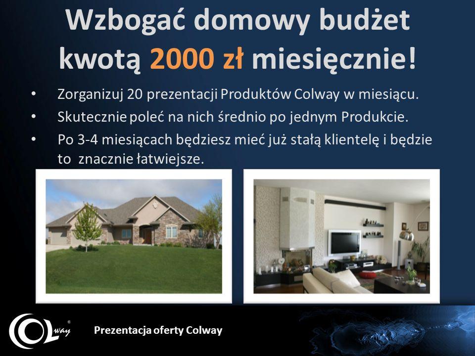 Prezentacja oferty Colway Wzbogać domowy budżet kwotą 2000 zł miesięcznie! Zorganizuj 20 prezentacji Produktów Colway w miesiącu. Skutecznie poleć na