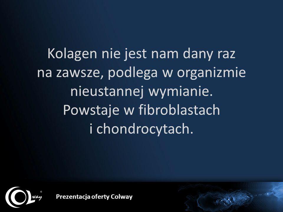 Prezentacja oferty Colway Kolagen nie jest nam dany raz na zawsze, podlega w organizmie nieustannej wymianie. Powstaje w fibroblastach i chondrocytach