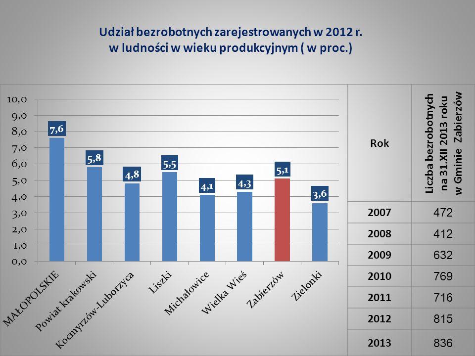 Rok Liczba bezrobotnych na 31.XII 2013 roku w Gminie Zabierzów 2007 472 2008 412 2009 632 2010 769 2011 716 2012 815 2013 836 Udział bezrobotnych zare
