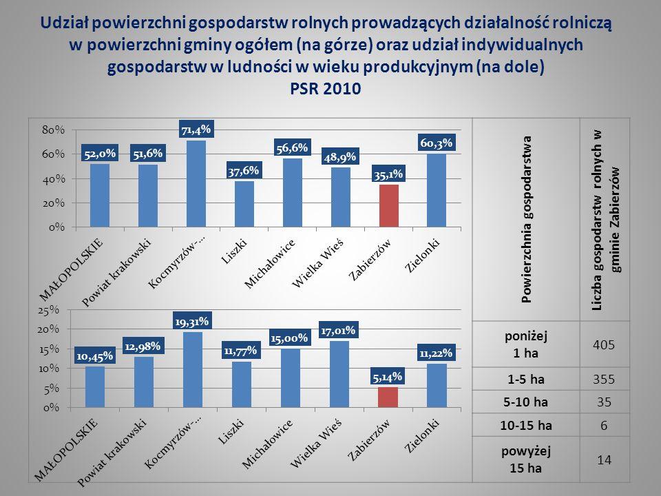 Powierzchnia gospodarstwa Liczba gospodarstw rolnych w gminie Zabierzów poniżej 1 ha 405 1-5 ha355 5-10 ha35 10-15 ha6 powyżej 15 ha 14 Udział powierz