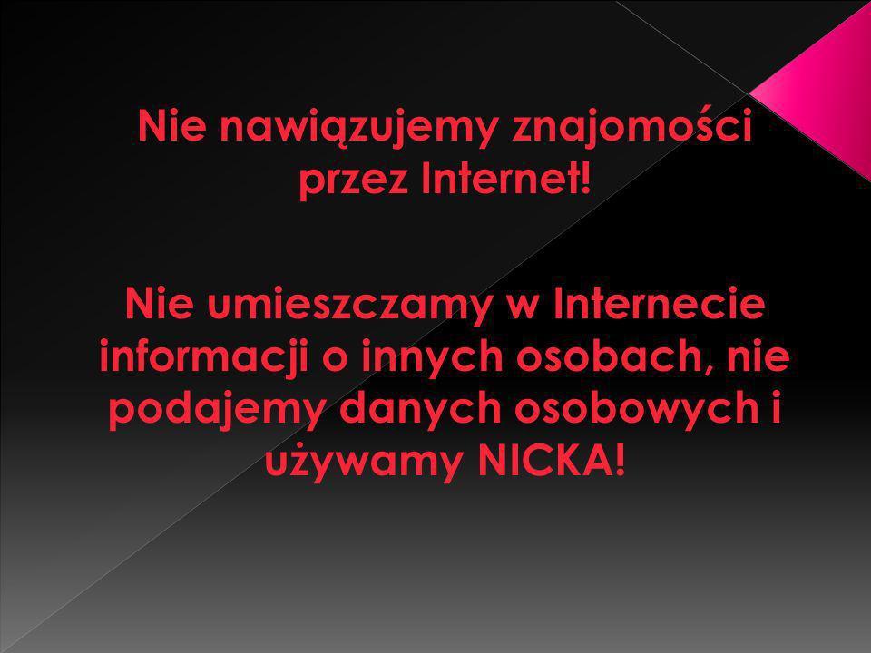 Nie nawiązujemy znajomości przez Internet! Nie umieszczamy w Internecie informacji o innych osobach, nie podajemy danych osobowych i używamy NICKA!