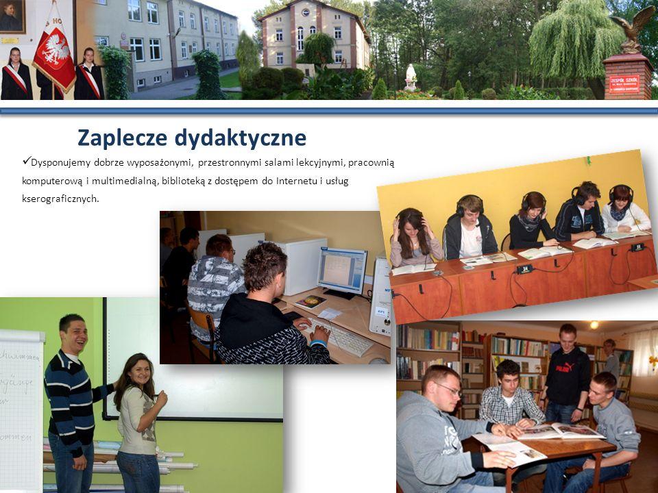 Zaplecze dydaktyczne Dysponujemy dobrze wyposażonymi, przestronnymi salami lekcyjnymi, pracownią komputerową i multimedialną, biblioteką z dostępem do