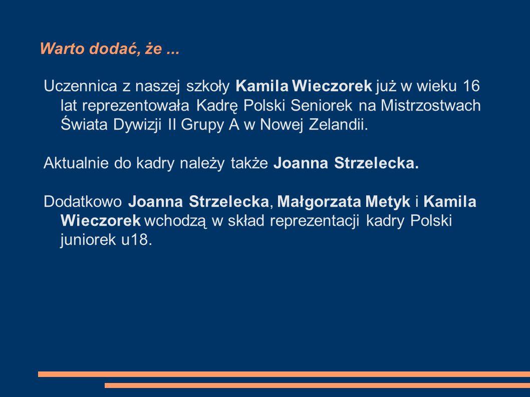 Unitki w Reprezentacji Polski Na Mistrzostwach Świata Dywizji I Kwalifikacyjnej do 18 lat rozgrywanych w Krynicy-Zdrój: Wieczorek Kamila, Metyk Małgorzata oraz Strzelecka Joanna