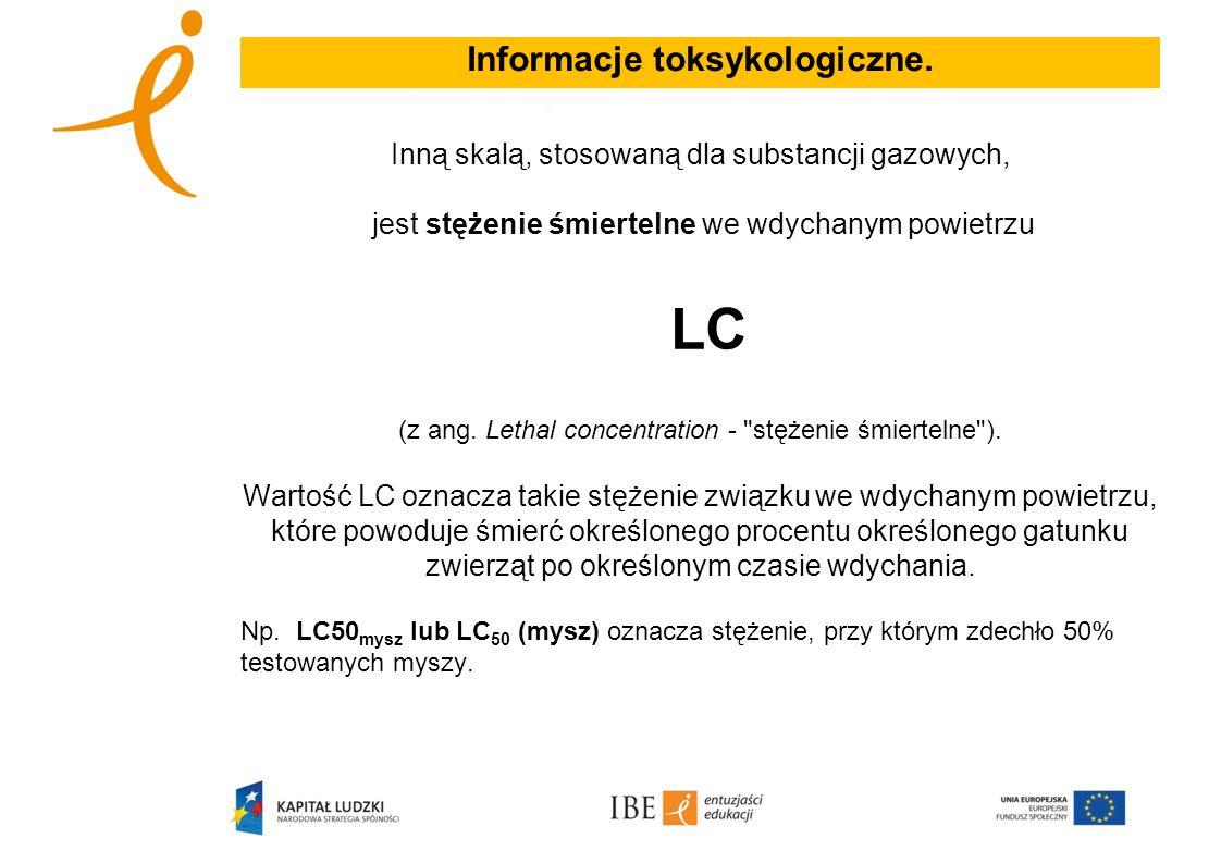 Informacje toksykologiczne. Inną skalą, stosowaną dla substancji gazowych, jest stężenie śmiertelne we wdychanym powietrzu LC (z ang. Lethal concentra