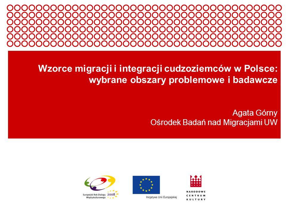 Europejski Rok Dialogu Międzykulturowego 2008 Wzorce migracji i integracji cudzoziemców w Polsce: wybrane obszary problemowe i badawcze Agata Górny Oś