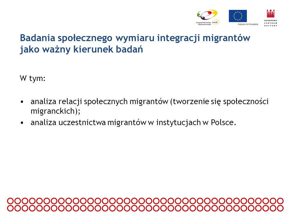 Badania społecznego wymiaru integracji migrantów jako ważny kierunek badań W tym: analiza relacji społecznych migrantów (tworzenie się społeczności mi