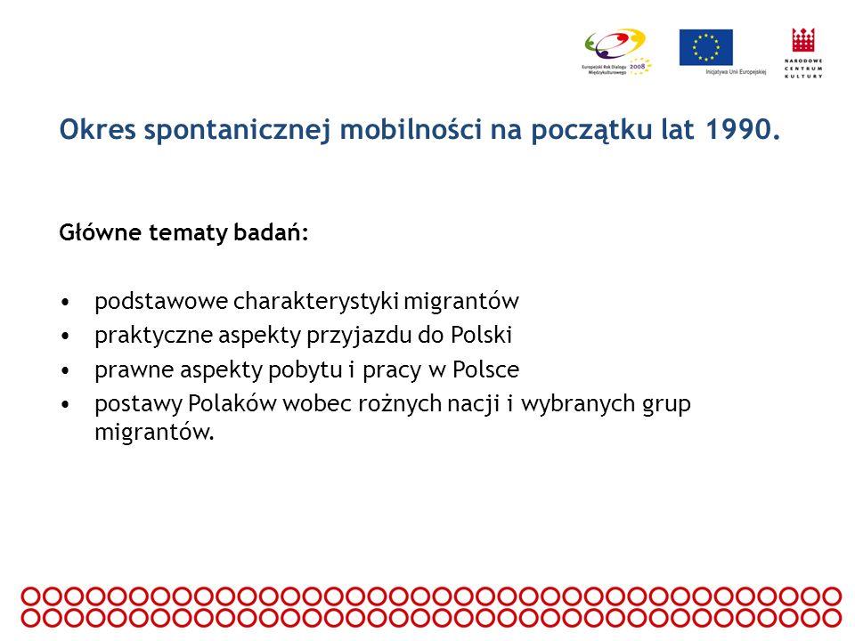 Okres spontanicznej mobilności na początku lat 1990. Główne tematy badań: podstawowe charakterystyki migrantów praktyczne aspekty przyjazdu do Polski