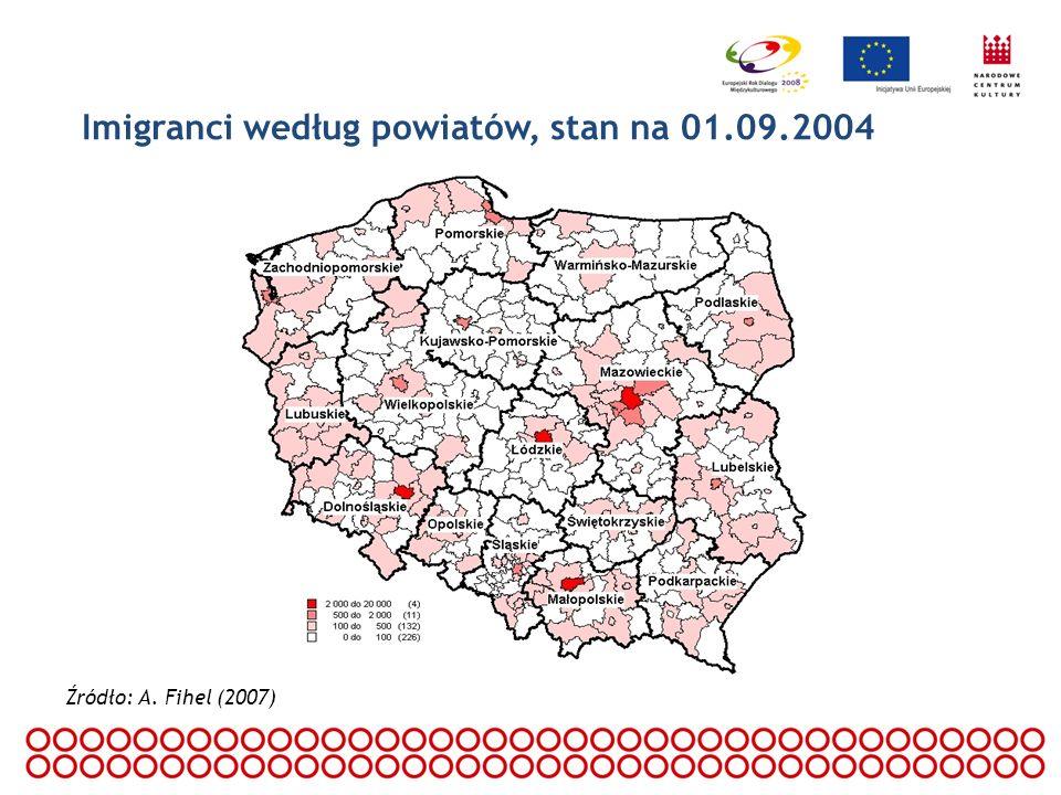Imigranci według powiatów, stan na 01.09.2004 Źródło: A. Fihel (2007)