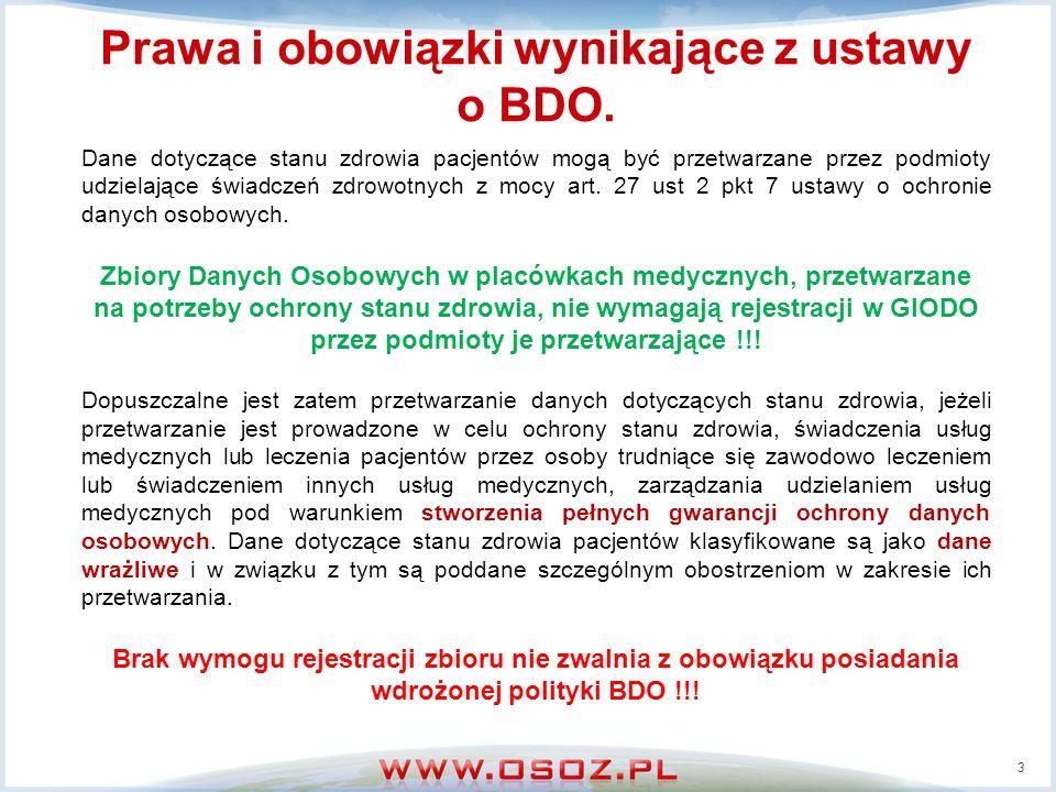 Prawa i obowiązki wynikające z ustawy o BDO. Dane dotyczące stanu zdrowia pacjentów mogą być przetwarzane przez podmioty udzielające świadczeń zdrowot