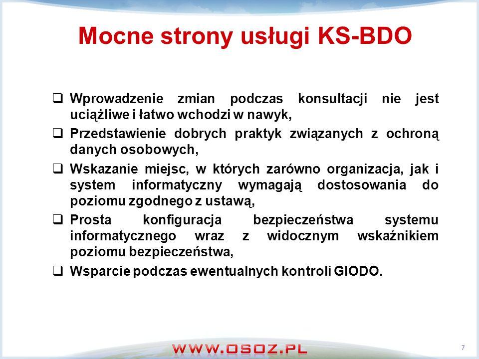 Mocne strony usługi KS-BDO Wprowadzenie zmian podczas konsultacji nie jest uciążliwe i łatwo wchodzi w nawyk, Przedstawienie dobrych praktyk związanyc