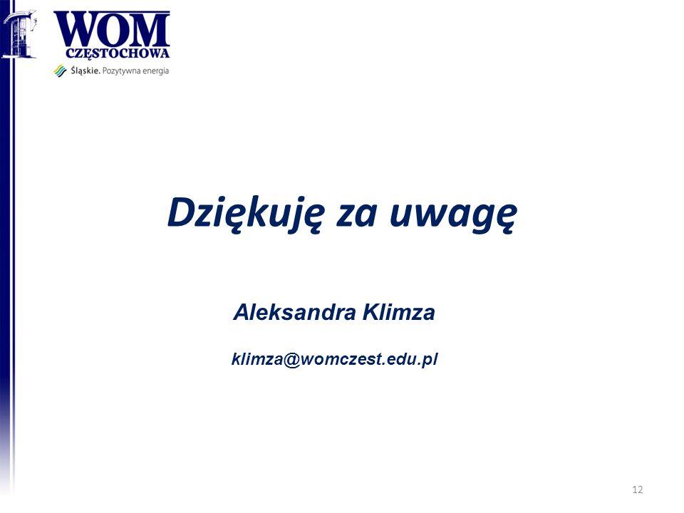 Aleksandra Klimza klimza@womczest.edu.pl Dziękuję za uwagę 12