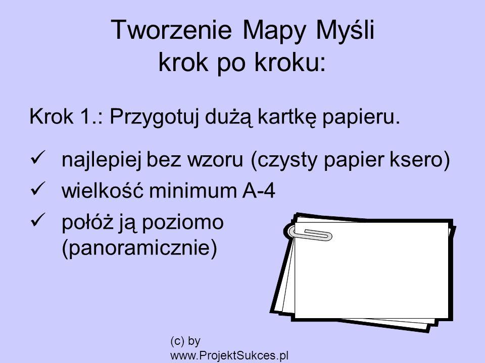 (c) by www.ProjektSukces.pl Tworzenie Mapy Myśli krok po kroku: Krok 1.: Przygotuj dużą kartkę papieru. najlepiej bez wzoru (czysty papier ksero) wiel