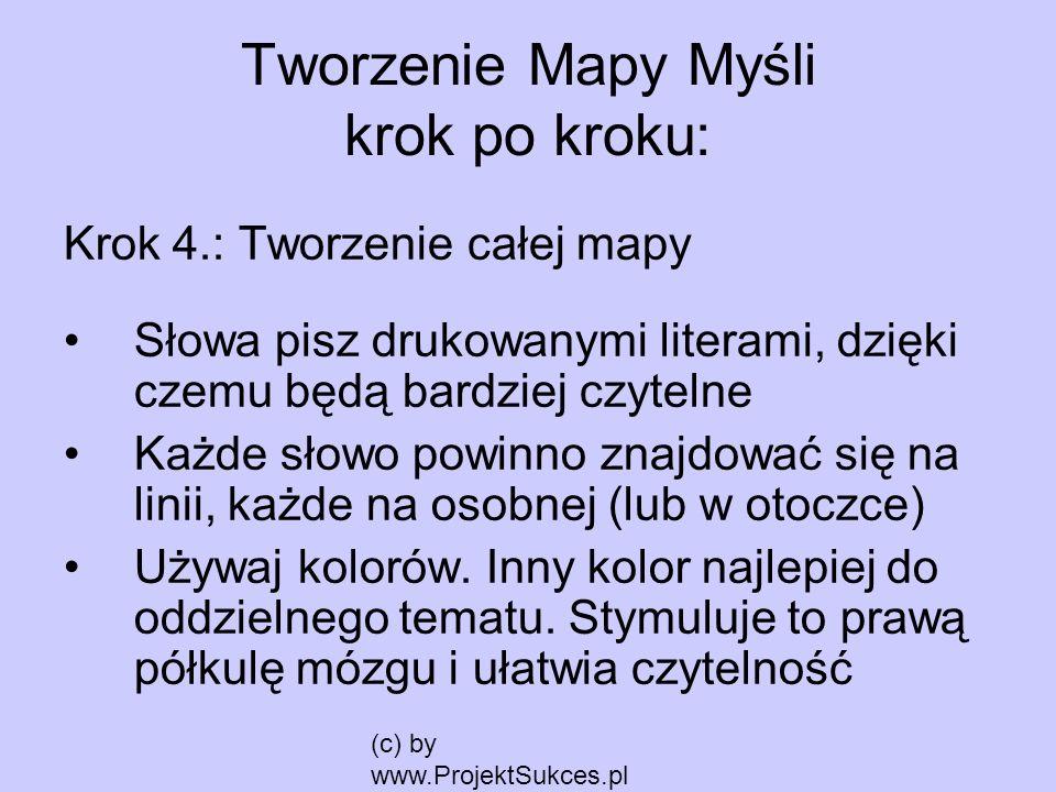 (c) by www.ProjektSukces.pl Krok 4.: Tworzenie całej mapy Słowa pisz drukowanymi literami, dzięki czemu będą bardziej czytelne Każde słowo powinno zna
