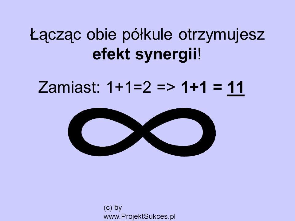 (c) by www.ProjektSukces.pl Łącząc obie półkule otrzymujesz efekt synergii! Zamiast: 1+1=2 => 1+1 = 11