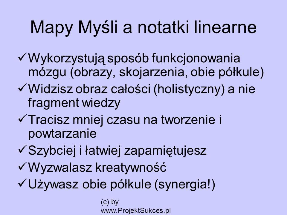 (c) by www.ProjektSukces.pl Mapy Myśli a notatki linearne Wykorzystują sposób funkcjonowania mózgu (obrazy, skojarzenia, obie półkule) Widzisz obraz c