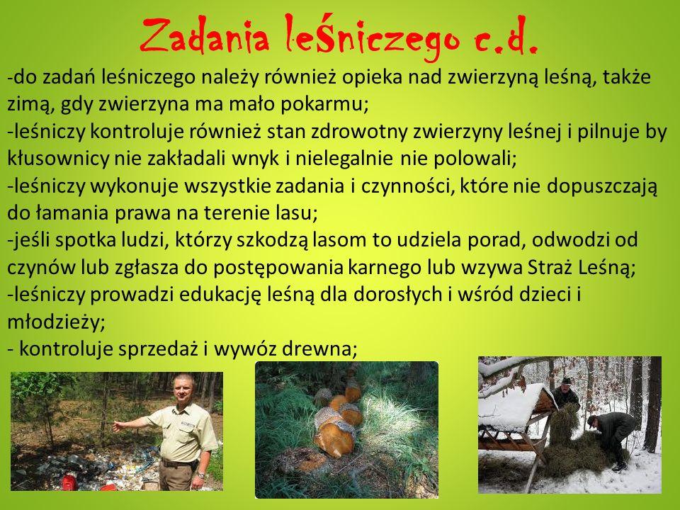 Zadania le ś niczego c.d. - do zadań leśniczego należy również opieka nad zwierzyną leśną, także zimą, gdy zwierzyna ma mało pokarmu; -leśniczy kontro