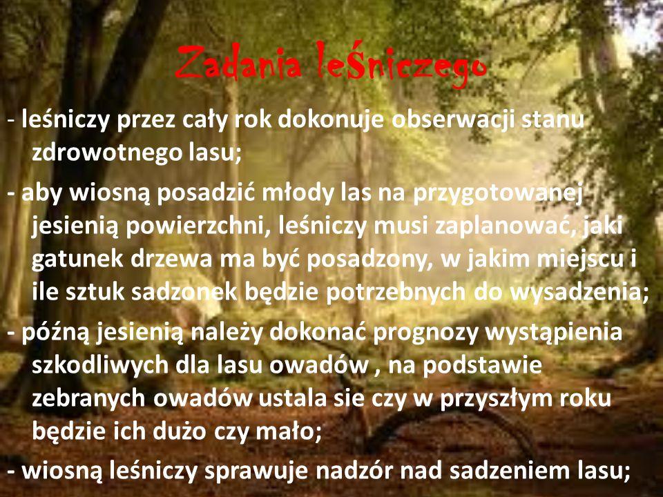 Bibliografia: http://zapytaj.onet.pl/Category/006,012/2,1463305,Zadanie_z_przyrody_quotPraca_lesnikaquotPomozecie.