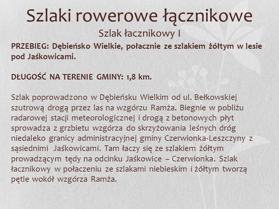 Szlaki rowerowe łącznikowe Szlak łacznikowy I PRZEBIEG: Dębieńsko Wielkie, połacznie ze szlakiem żółtym w lesie pod Jaśkowicami. DŁUGOŚĆ NA TERENIE GM
