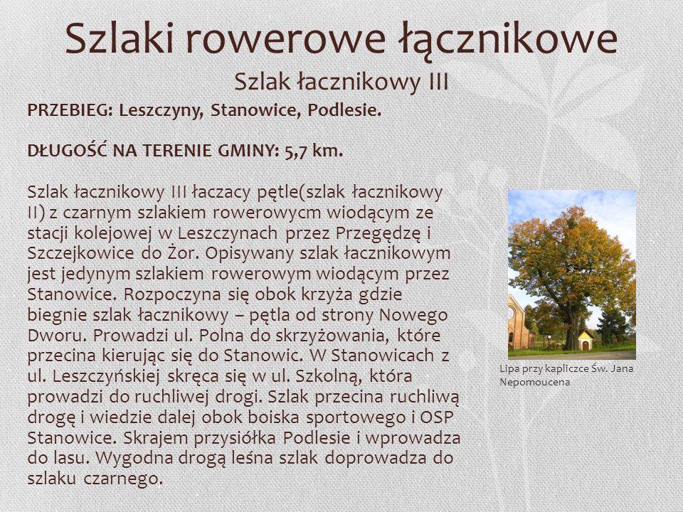 Szlaki rowerowe łącznikowe Szlak łacznikowy III PRZEBIEG: Leszczyny, Stanowice, Podlesie. DŁUGOŚĆ NA TERENIE GMINY: 5,7 km. Szlak łacznikowy III łacza