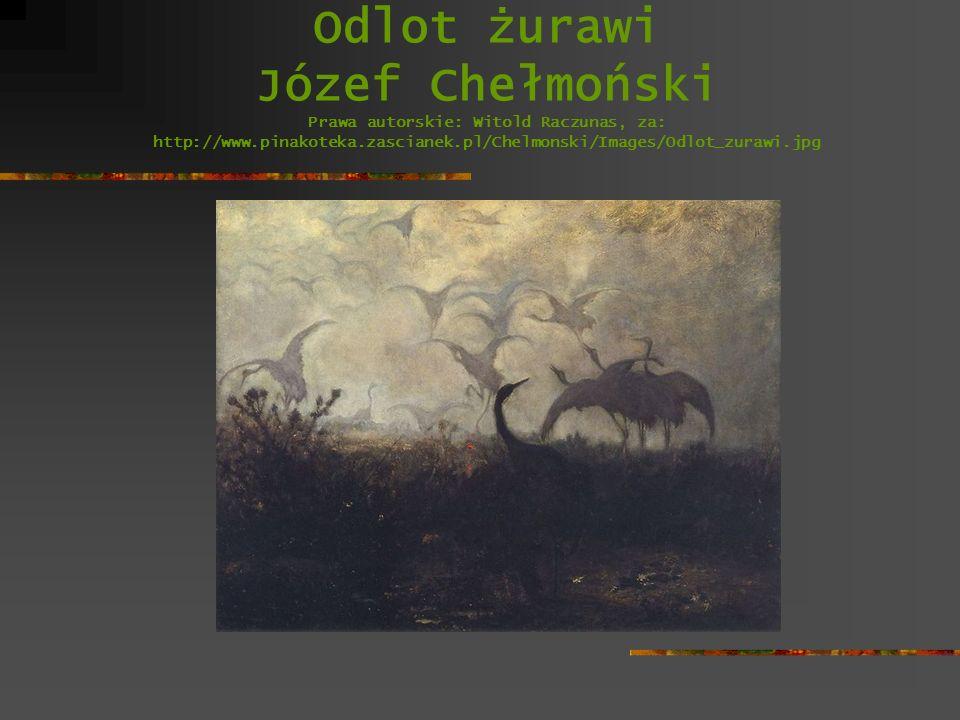 Odlot żurawi Józef Chełmoński Prawa autorskie: Witold Raczunas, za: http://www.pinakoteka.zascianek.pl/Chelmonski/Images/Odlot_zurawi.jpg