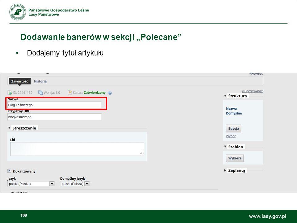 110 Dodawanie banerów w sekcji Polecane W edytor tekstowy w artykule wklejamy obrazek