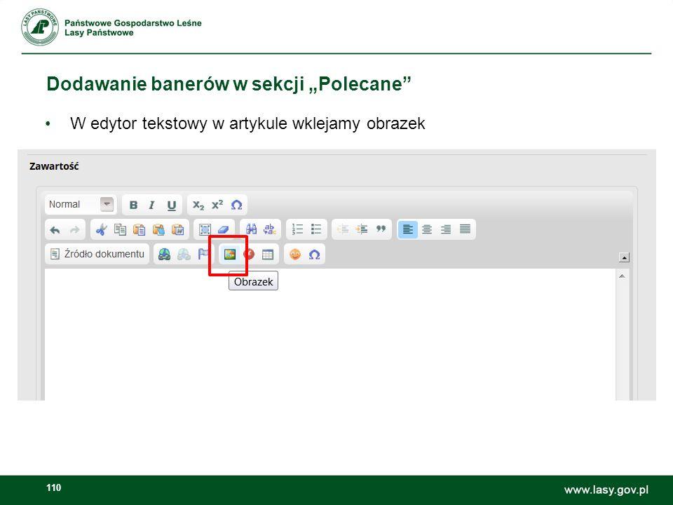 111 Dodawanie banerów w sekcji Polecane Klikamy Przeglądaj Zaznaczamy Zasoby współdzielone