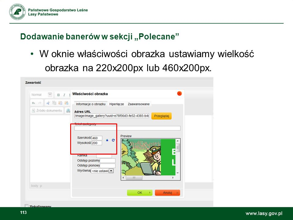 114 Dodawanie banerów w sekcji Polecane W zakładce Hiperłącze wklejamy adres strony internetowej Blog leśniczego i zaznaczamy target _blank (otwiera nowe okno).