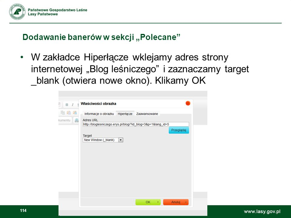 115 Dodawanie banerów w sekcji Polecane Następnie wybieramy kategorie Polecane oraz publikujemy artykuł