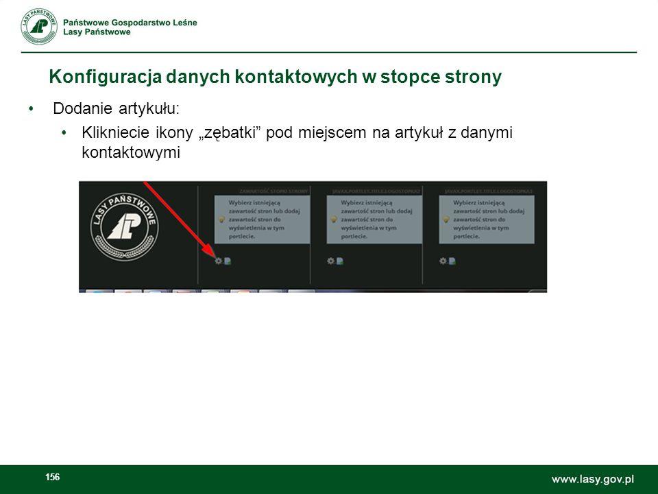157 Konfiguracja danych kontaktowych w stopce strony Wyszukanie artykułów stopki Wskazanie artykułu stopka – dane teleadresowe Użycie przycisku Zapisz