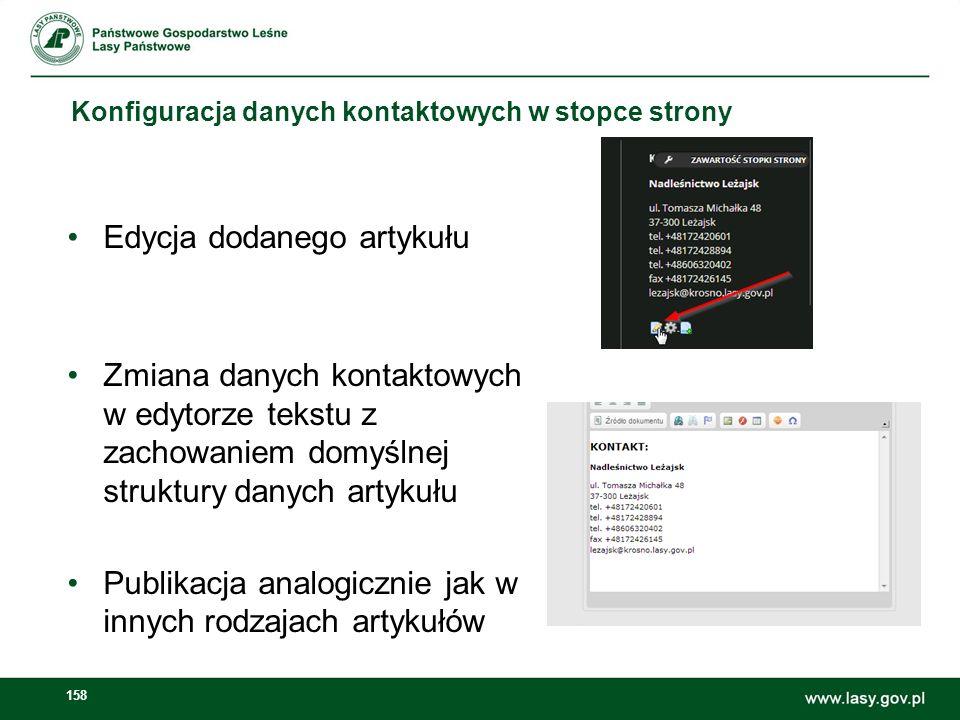 159 Zadanie – Dodanie artykułu z grafiką BIP oraz MŚ w stopce strony Dodanie artykułu stopka – mos.gov.pl + BIP analogicznie do poprzedniego przykładu W tym zadaniu dla grafiki BIP należy ustawić hiperłącze do strony BIP jednostki