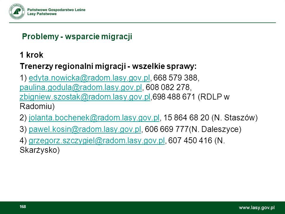 169 Problemy - wsparcie migracji 2 krok CILP – sprawy treści (zatwierdzanie zdjęć na stronę główną, banerów, sugestie odnośnie treści): Sergiusz Sachno: s.sachno@cilp.lasy.gov.pl, 22 822 49 31 w.
