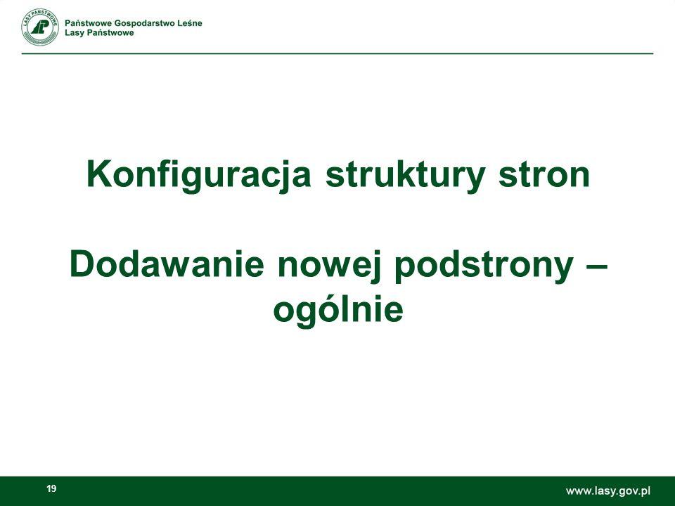 20 Dodanie podstron – poszczególne poziomy I poziom podstron – tylko ZILP piotr.podlesny@zilp.lasy.gov.pl po akceptacji merytorycznej przez CILP s.sachno@cilp.lasy.gov.pl piotr.podlesny@zilp.lasy.gov.pls.sachno@cilp.lasy.gov.pl II i III poziom – można IV poziom – wyjątkowo można