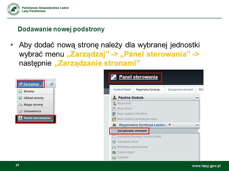 22 Dodawanie nowej podstrony Po wyborze tej opcji pojawi się formularz dodawania nowej strony w jednostce.