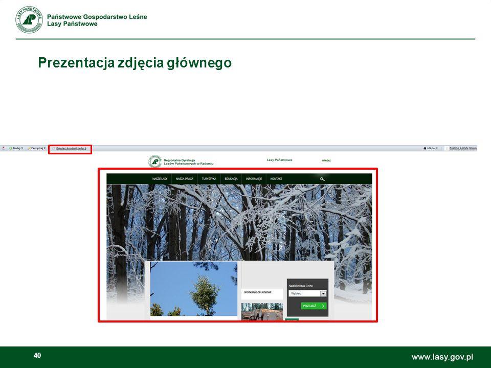 41 Zmiana zdjęcia na stronie głównej Otwieramy: Zarządzaj -> Panel sterownia Otwieramy: Narzędzia Nowego Layoutu