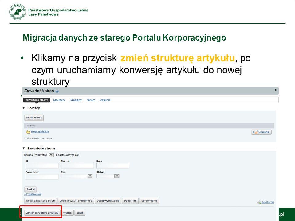 54 Migracja danych ze starego Portalu Korporacyjnego Po zmigrowaniu ze starego PKLP, artykuł w nowej strukturze zaciąga również zdjęcia