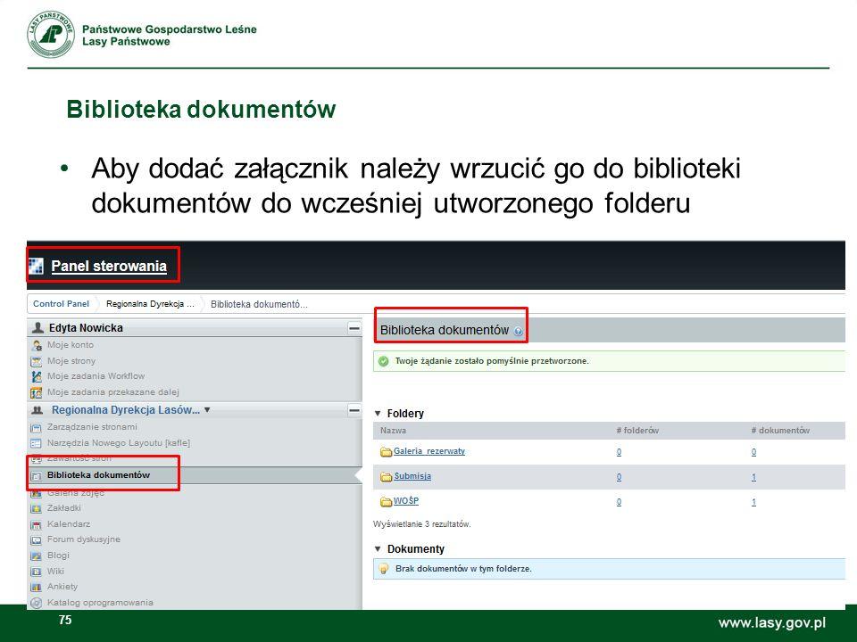 76 U Możliwe jest zarządzanie folderami i dokumentami lub zdjęciami (m.in.: dodawanie, usuwanie folderów, dokumentów)