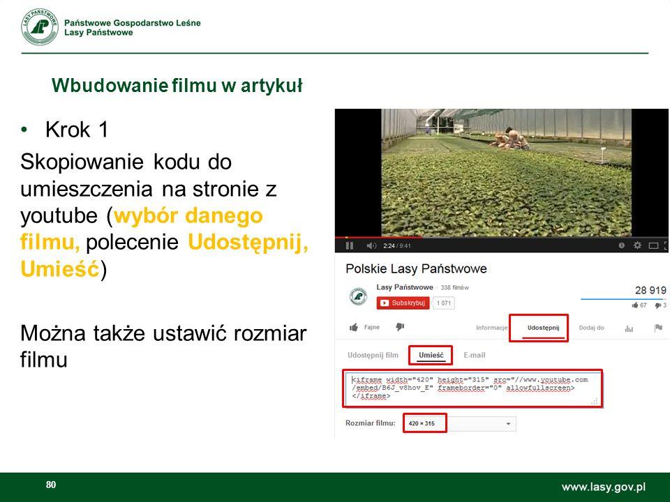 81 Wbudowanie filmu w artykuł Krok 2 Przełączenie w tryb: źródło dokumentu, następnie wklejenie kodu w treść artykułu, w miejscu gdzie chcemy aby się wyświetlał, jeszcze raz źródło dokumentu (odznaczyć), następnie publikuj