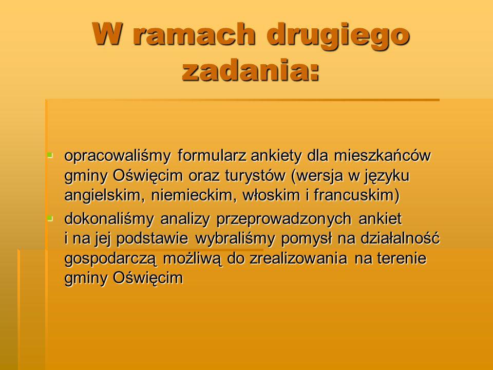 W ramach drugiego zadania: opracowaliśmy formularz ankiety dla mieszkańców gminy Oświęcim oraz turystów (wersja w języku angielskim, niemieckim, włosk
