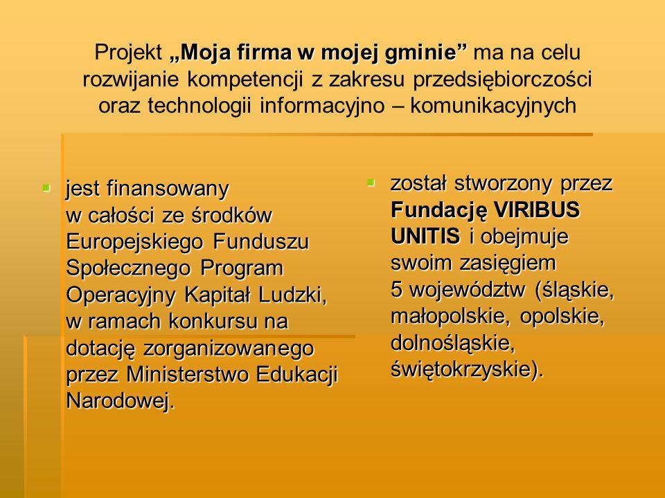 jest finansowany w całości ze środków Europejskiego Funduszu Społecznego Program Operacyjny Kapitał Ludzki, w ramach konkursu na dotację zorganizowane
