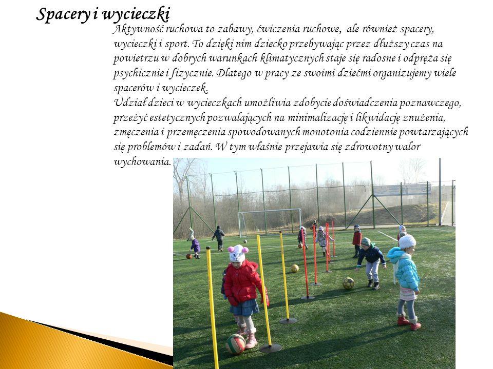 Spacery i wycieczki Aktywność ruchowa to zabawy, ćwiczenia ruchowe, ale również spacery, wycieczki i sport. To dzięki nim dziecko przebywając przez dł