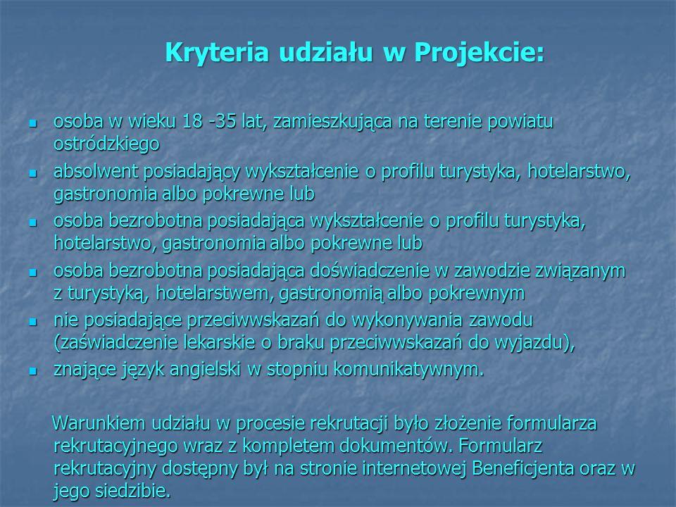 Kryteria udziału w Projekcie: osoba w wieku 18 -35 lat, zamieszkująca na terenie powiatu ostródzkiego osoba w wieku 18 -35 lat, zamieszkująca na teren
