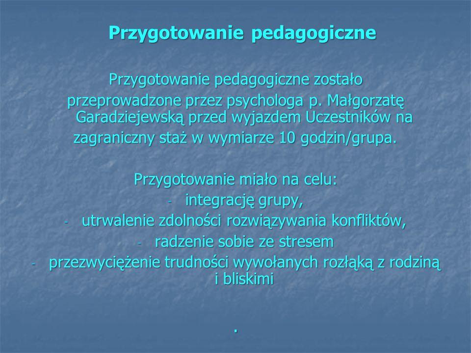 Przygotowanie pedagogiczne Przygotowanie pedagogiczne Przygotowanie pedagogiczne zostało przeprowadzone przez psychologa p. Małgorzatę Garadziejewską