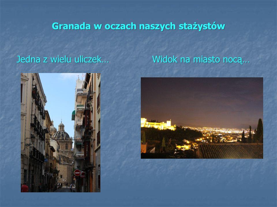 Granada w oczach naszych stażystów Jedna z wielu uliczek… Widok na miasto nocą…
