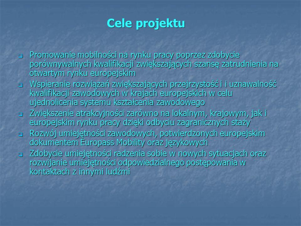 Cele projektu Promowanie mobilności na rynku pracy poprzez zdobycie porównywalnych kwalifikacji zwiększających szansę zatrudnienia na otwartym rynku e