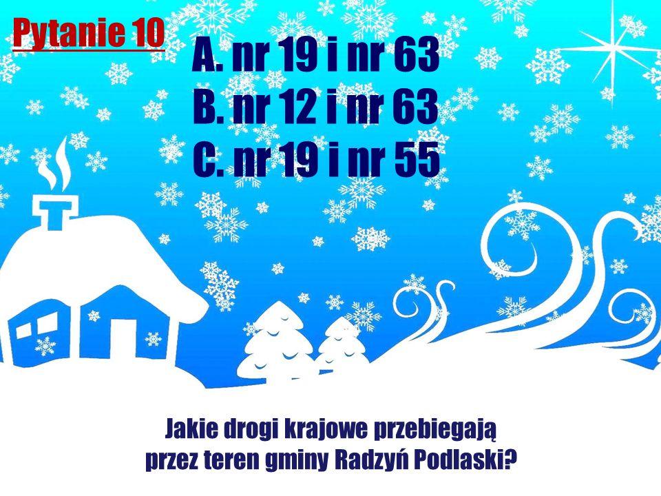 Pytanie 10 Jakie drogi krajowe przebiegają przez teren gminy Radzyń Podlaski? A. nr 19 i nr 63 B. nr 12 i nr 63 C. nr 19 i nr 55