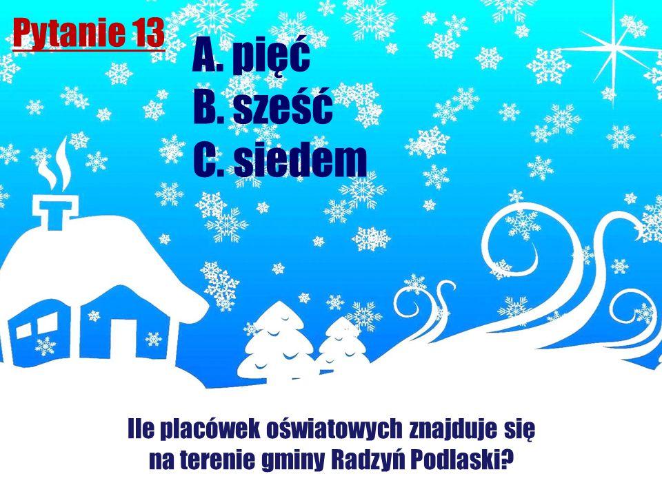 Pytanie 13 Ile placówek oświatowych znajduje się na terenie gminy Radzyń Podlaski? A. pięć B. sześć C. siedem